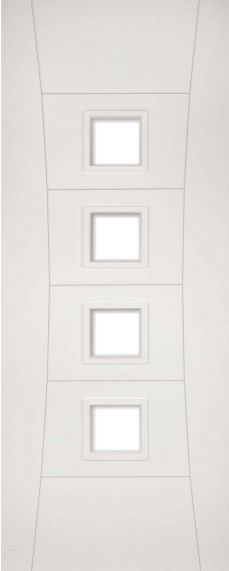 White Primed Pamplona - Clear Glass - Solid Core - DE