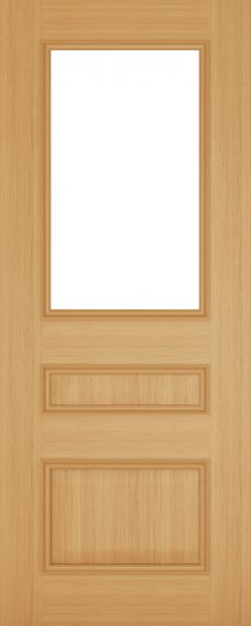 Oak Windsor Clear Bevelled Glass Pre Finished - DE