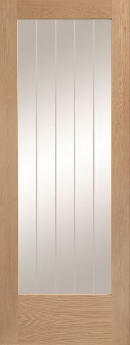 Oak Suffolk Original P10 with Clear Flat Etched Glass - Prefinished - XL
