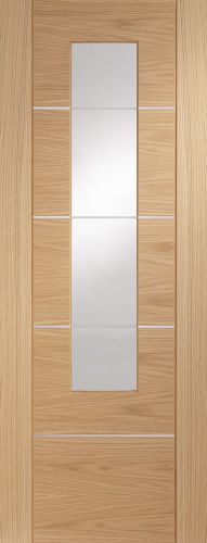 Oak Portici with Clear Etched Glass and Aluminium Inlay - Pre Finished -  XL
