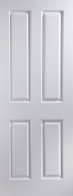 White Primed Oakfield 4 Panel - 35mm - Solid Core - FD30 - Woodgrain - JW
