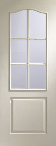 White Primed Classique 6 Light with Clear Bevelled Glass - Woodgrain - XL