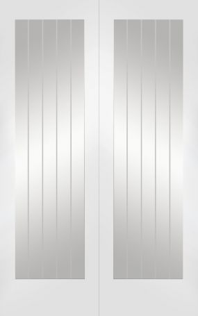 White Primed Suffolk Rebated Door Pair with Clear Etched Glass - XL
