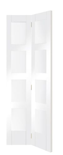 White Primed Shaker Bifold with Clear Glass -XL