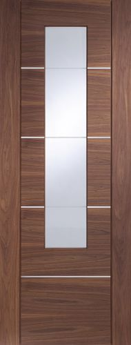 Walnut Portici - Clear Etched Glass and Aluminium Inlays - XL