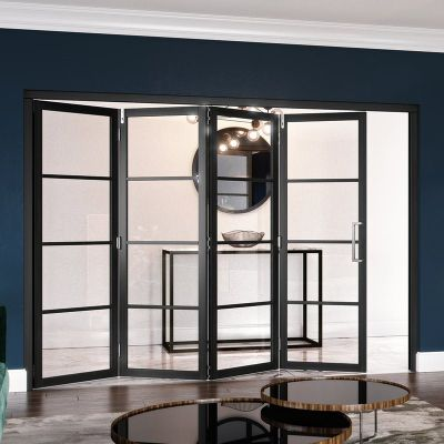 Black Pre-Finished 4 Light Clear Glazed Room Divider 4+0 - JWC
