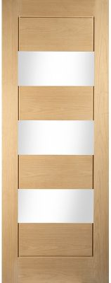 Oak Un-Finished Cottage Horizontal 3 Light Clear Glazed Interior Door - JWC